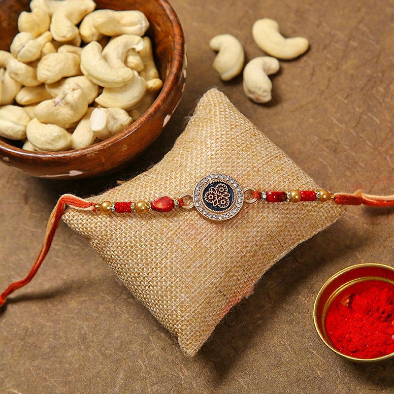 Shimmery Rakhi Cashew Combo
