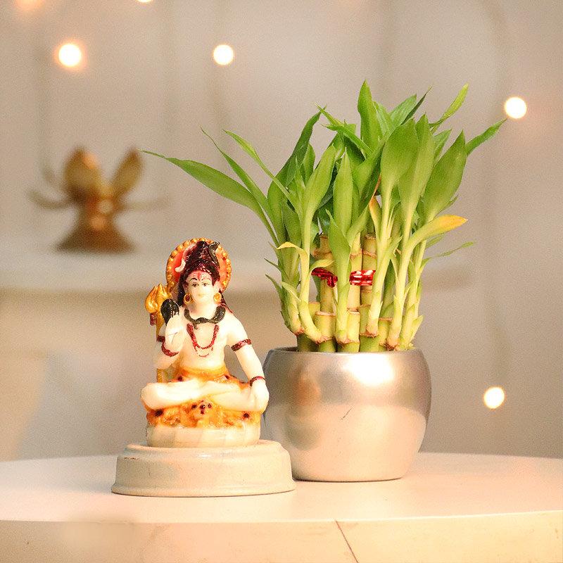 Lucky Bamboo and Shiva Idol Combo