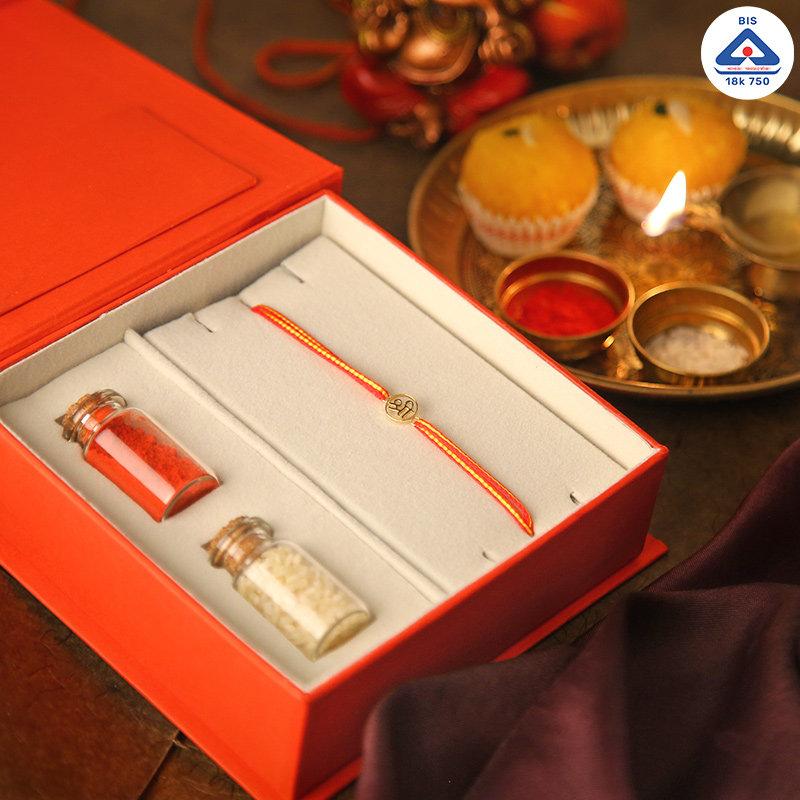 Shree 18K Gold Rakhi Box - Gold Designer Rakhi Online