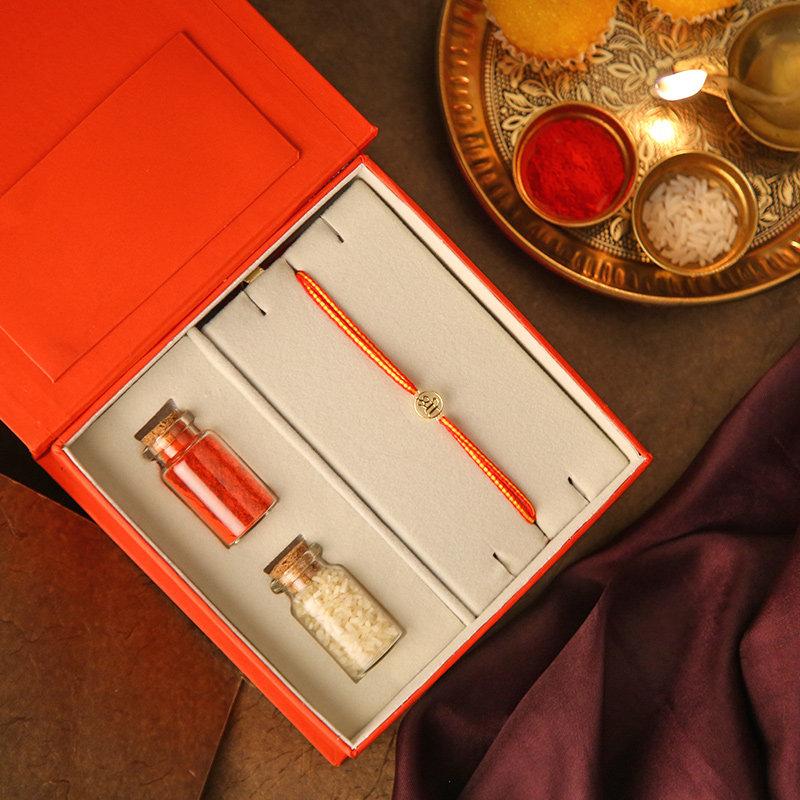 Gold Designer Rakhi Online - Shree 18K Gold Rakhi Box
