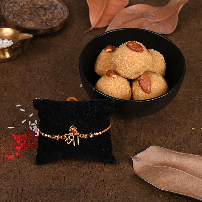 Shri Besan Laddoo Rakhi Combo - One Divine Rakhi