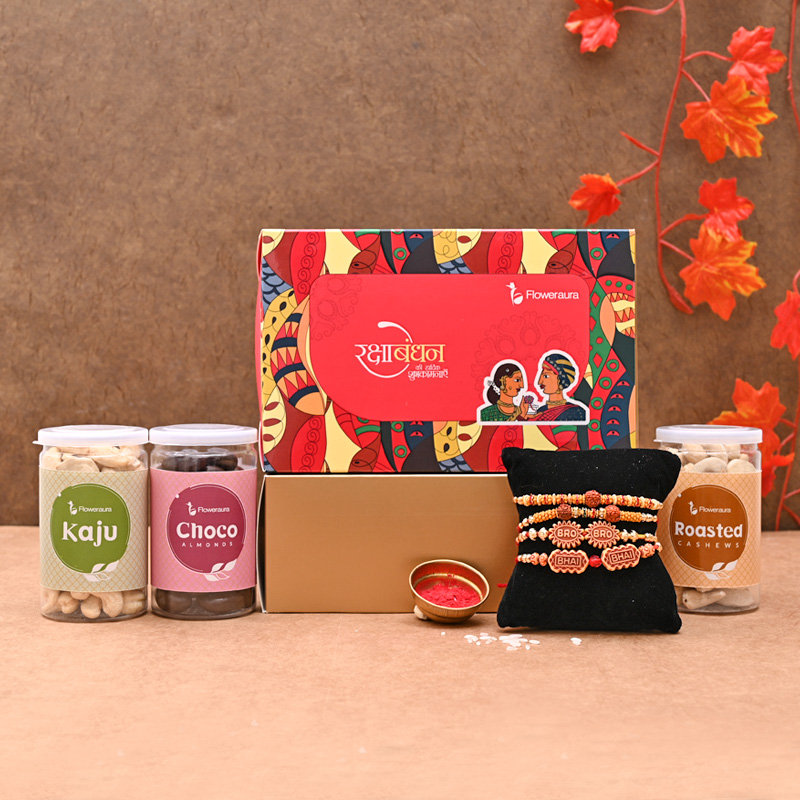 Siblings' Rakhi Signature Box - Set of 4 Designer Rakhi