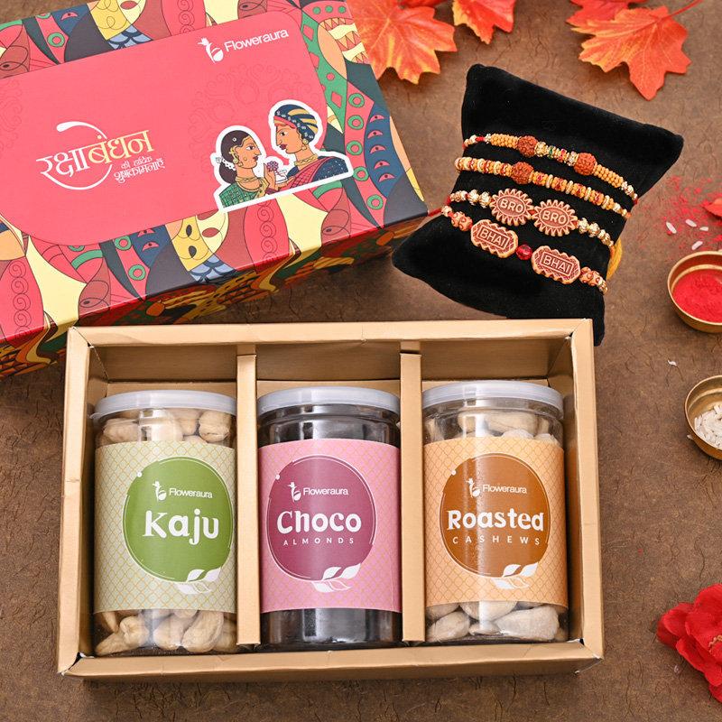 Set of 4 Designer Rakhi - Siblings' Rakhi Signature Box