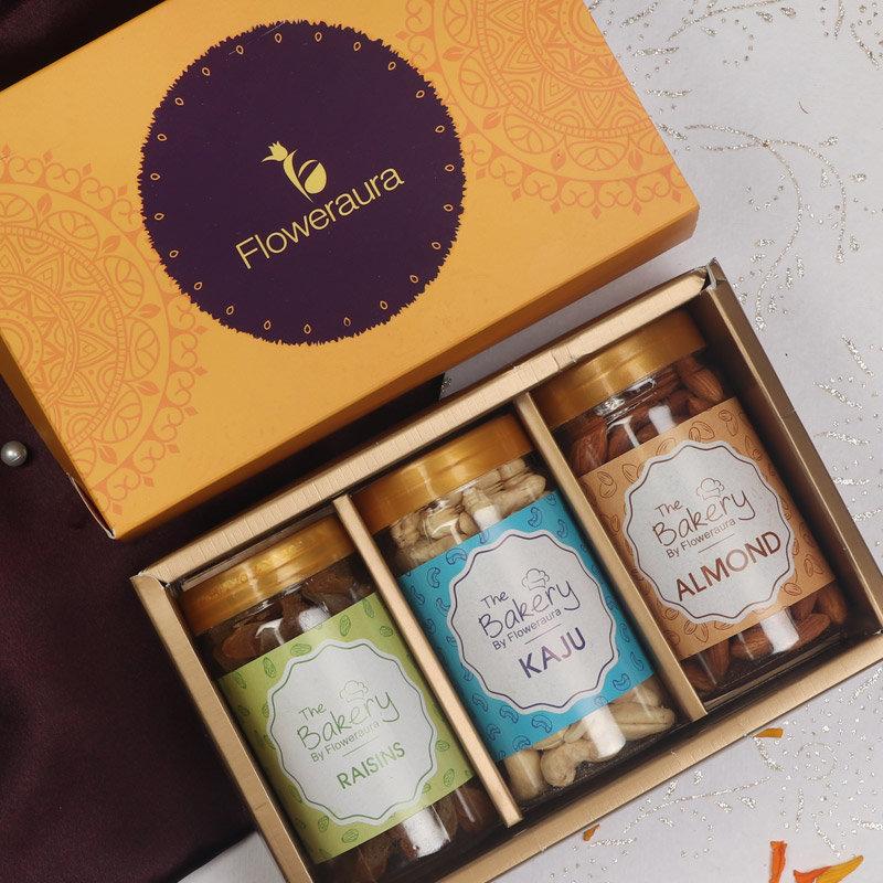 Floweraura Deepavali Gift Box of Cashews with Almonds and Raisins
