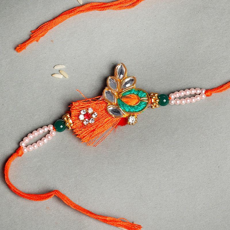 Silk Thread Work Kundan Rakhi