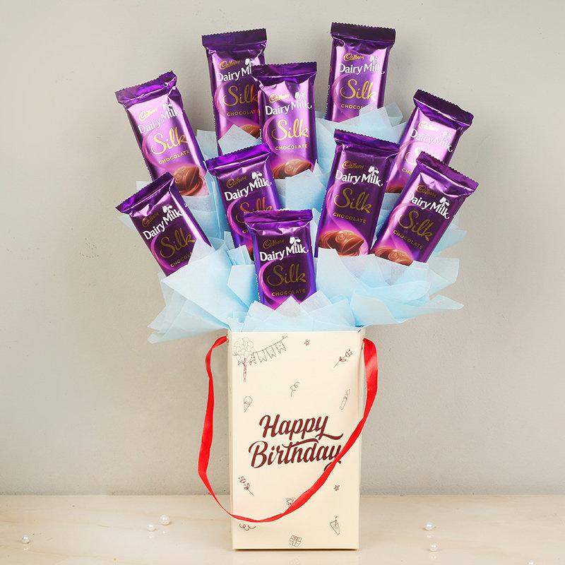 Silky Bday Present - 10 Dairy Milk Silk Chocolates in Birthday Chocolate Box