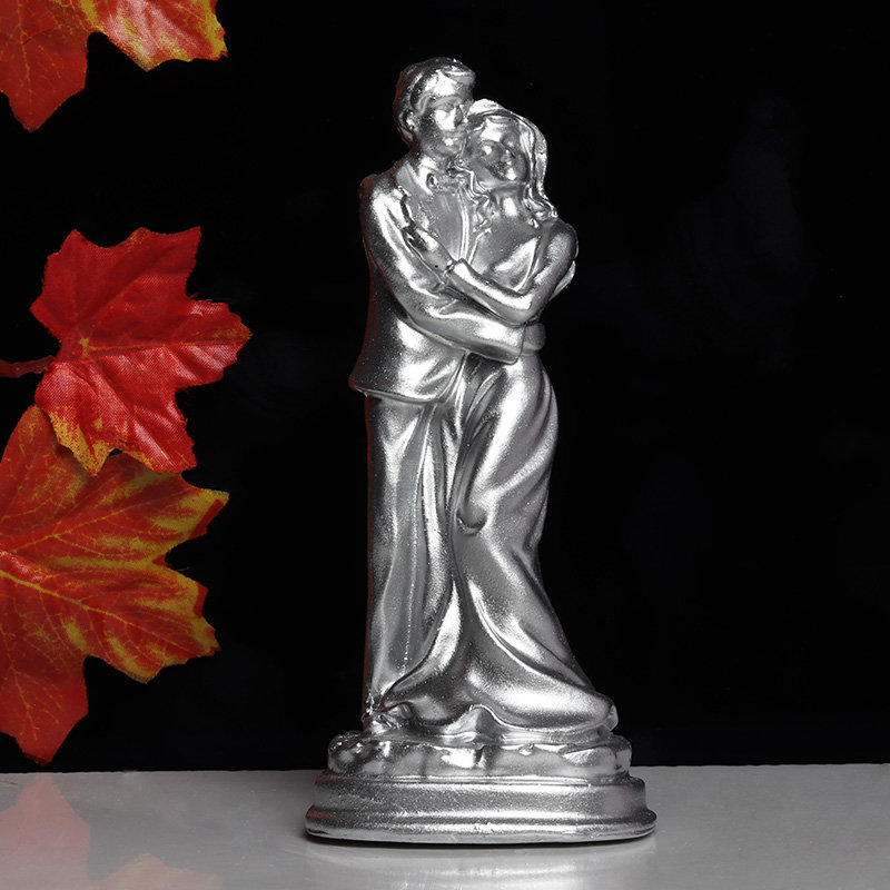 Romantic Silver Couple Figurine Gif for Valentine Day