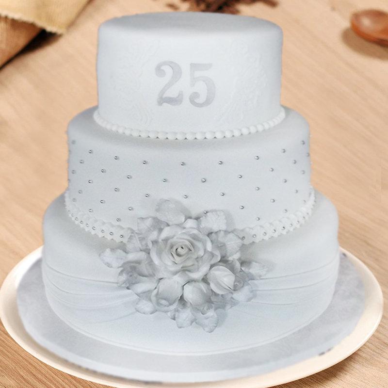 3 Layer 25th Anniversary Cake
