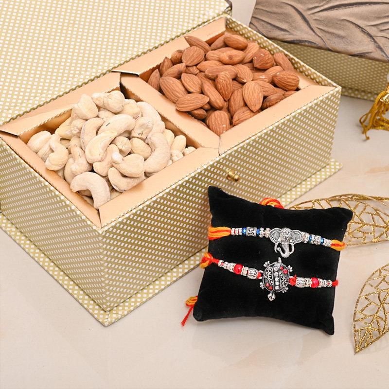 Silver Rakhis Signature Box - Set of 2 Designer Rakhi Premium Box