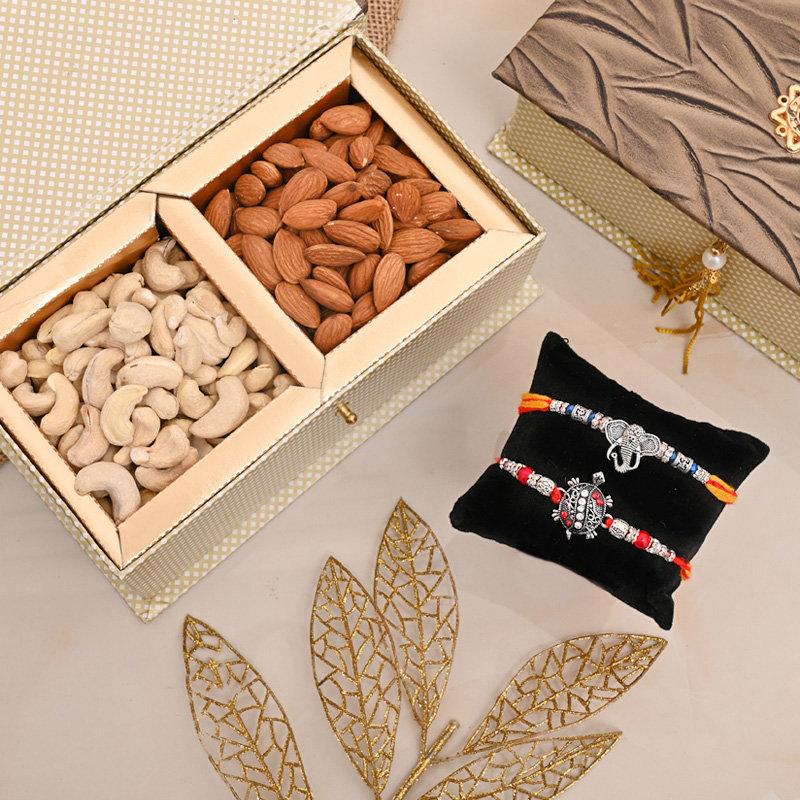 Set of 2 Designer Rakhi Premium Box - Silver Rakhis Signature Box