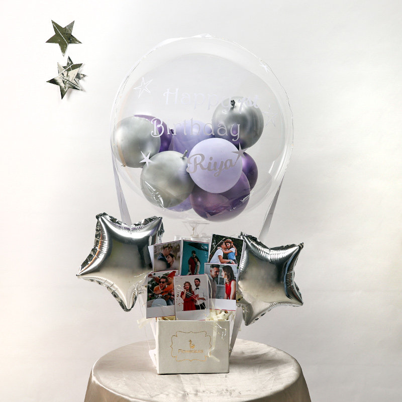 Silver Toned Customised Balloon Bouquet