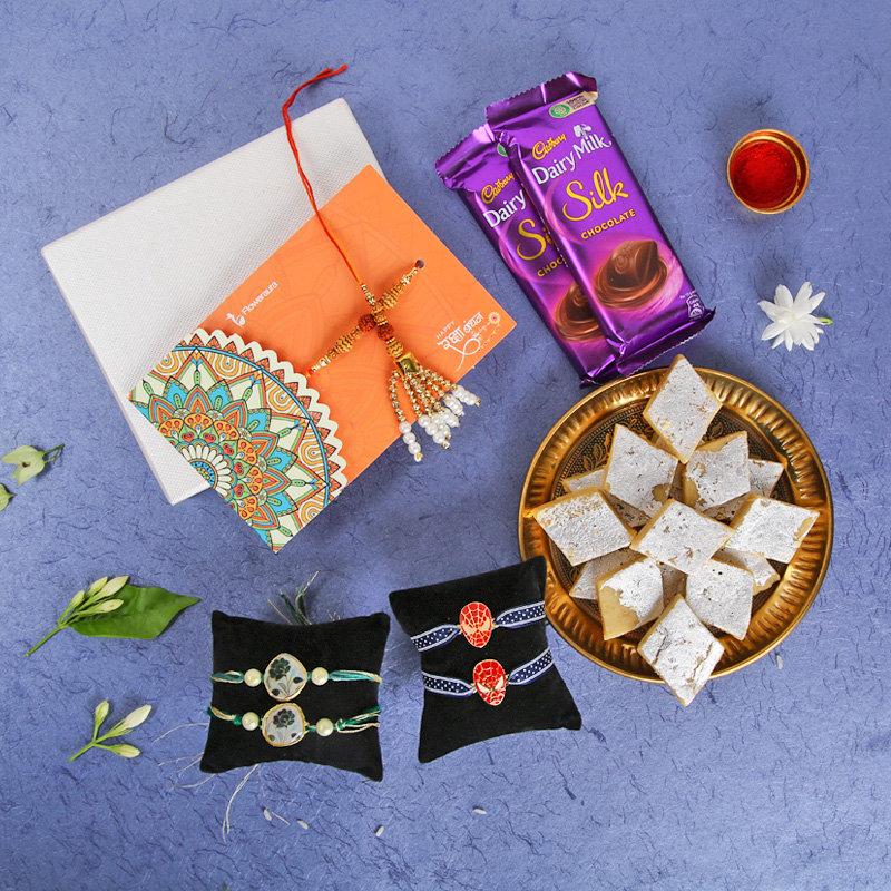 Six Rakhis Sweet Choc Combo