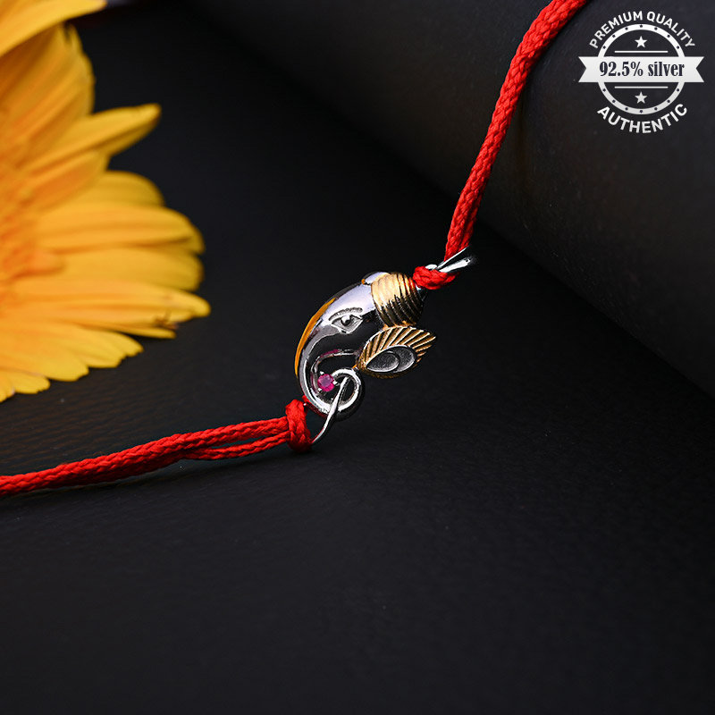 Sleek Silver Ganesha Rakhi - One Silver Designer Rakhi