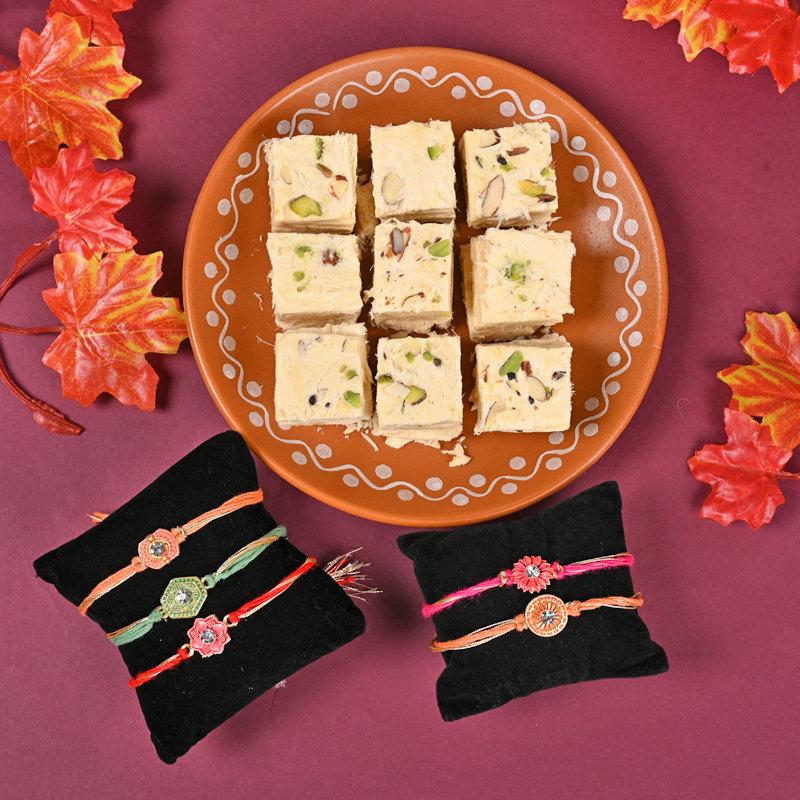 Set of 5 Designer Rakhis - Soan Papdi Five Rakhi Combo