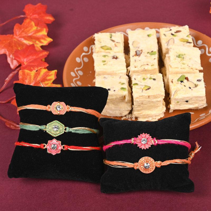 Soan Papdi Five Rakhi Combo - Set of 5 Designer Rakhis