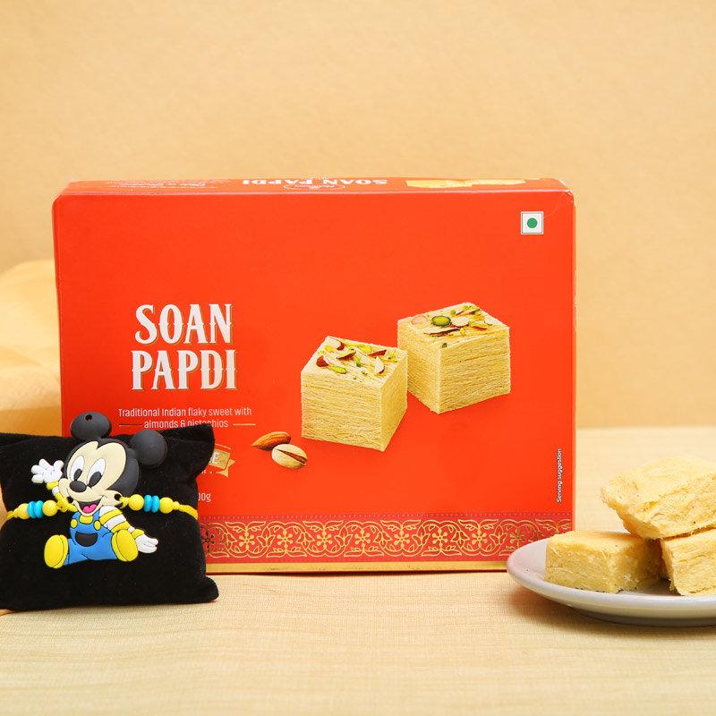 Soan Papdi With Mickey Mouse Rakhi Combo