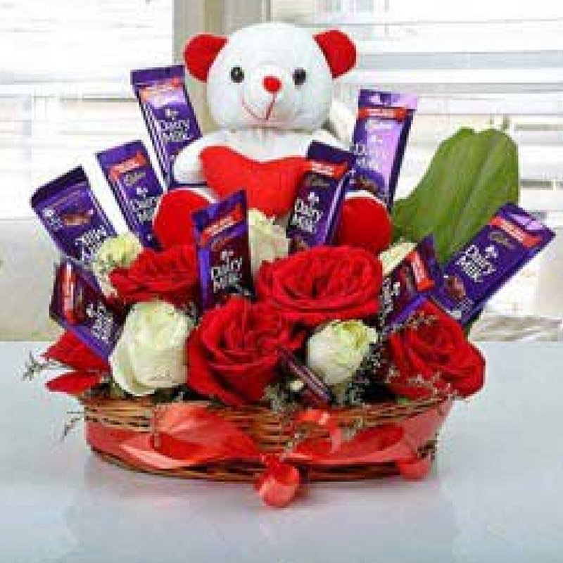 Perfect Combo of Roses, Teddy and Chocolates