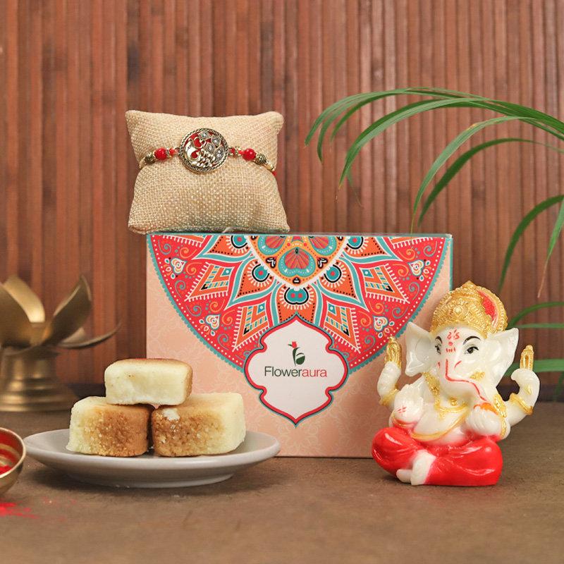 Soulful Rakhi N Ganesha Idol - Designer Rakhi