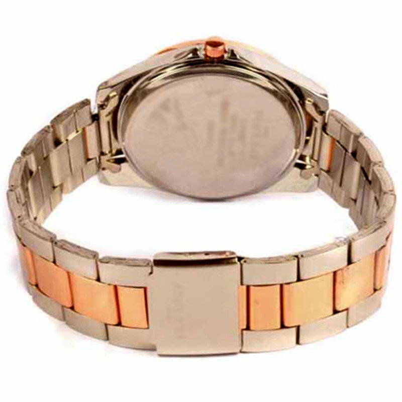 Side View of Copper and Silver Colour Custom Wrist Watch for Ladies