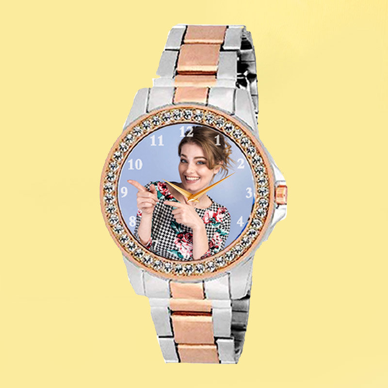 Copper and Silver Colour Custom Wrist Watch for Ladies