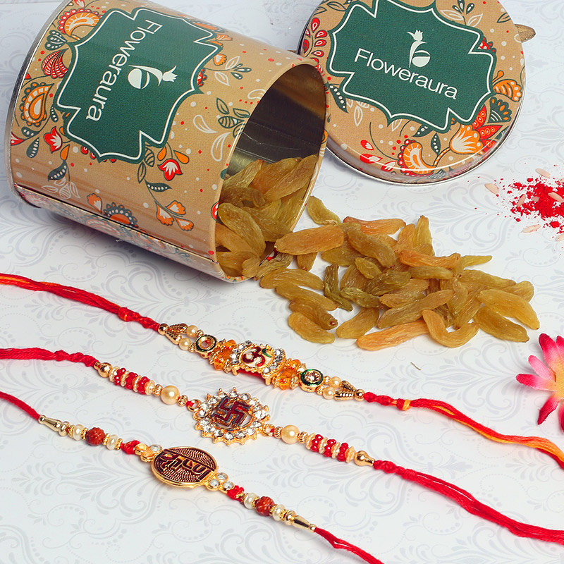 Spiritual Rakhi Combo - One Swastik Rakhi with Complimentary Roli and Chawal and 100gm Raisins in Colorful Floweraura Container Potli