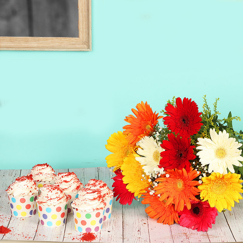 Sprinkled Delicacy Combo - Bunch of 12 Mixed Gerberas with 6 Red Velvet Cup Cakes