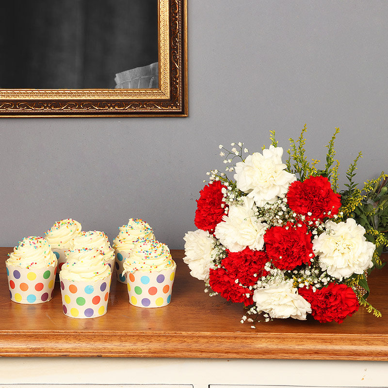 Sprinkled Freshness Combo - Bunch of 12 Carnations with 6 Vanilla Cup Cakes