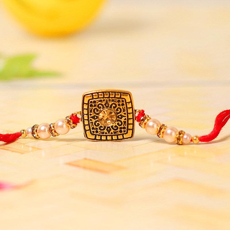 Square Diamond Rakhi - One Stone Rakhi and Complimentary Roli Chawal