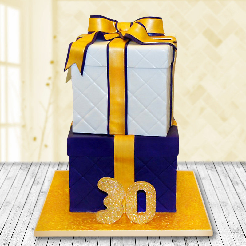 2 Tier Square Fondant Cake