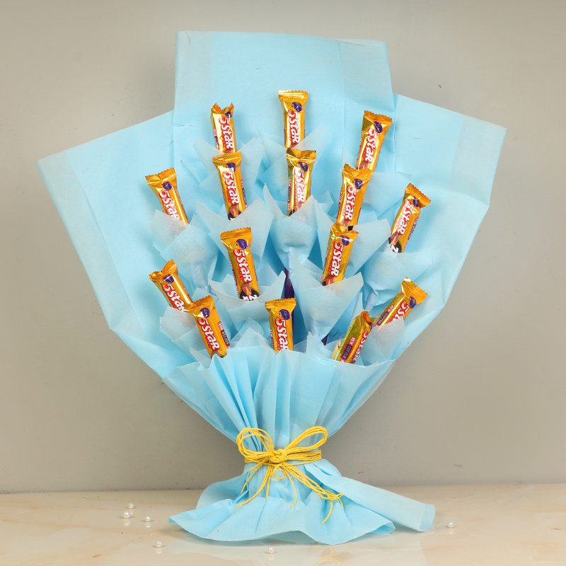 Starry Choco Bouquet - Bouquet of Fourteen 5 Stars in Blue Paper Packing