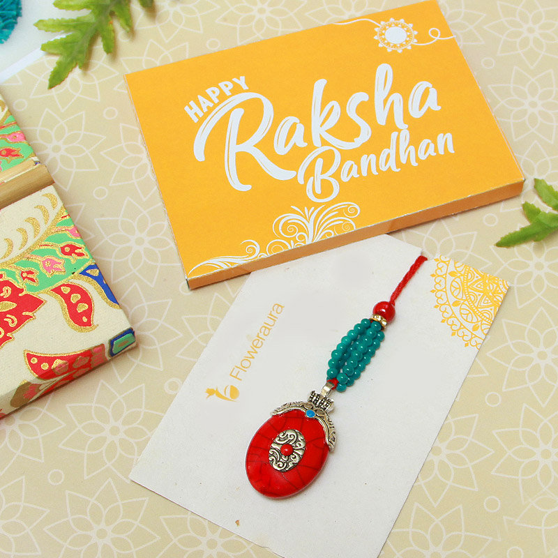 Rakhi Card in Blue Beads Lumba Rakhi - Online Rakhi Gifts for Bhaiya Bhabhi