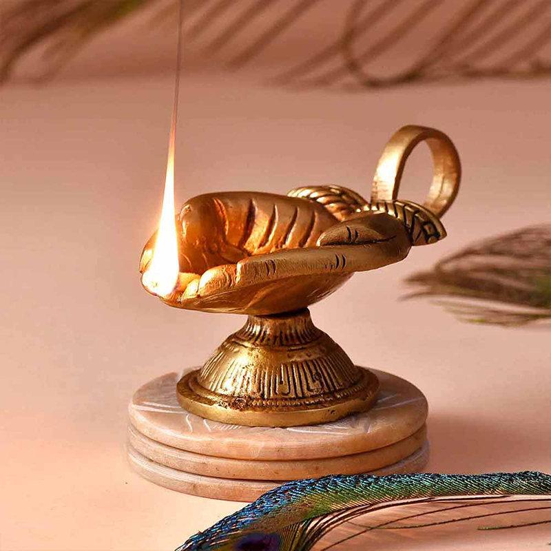 Stunning Handle Brass Diya