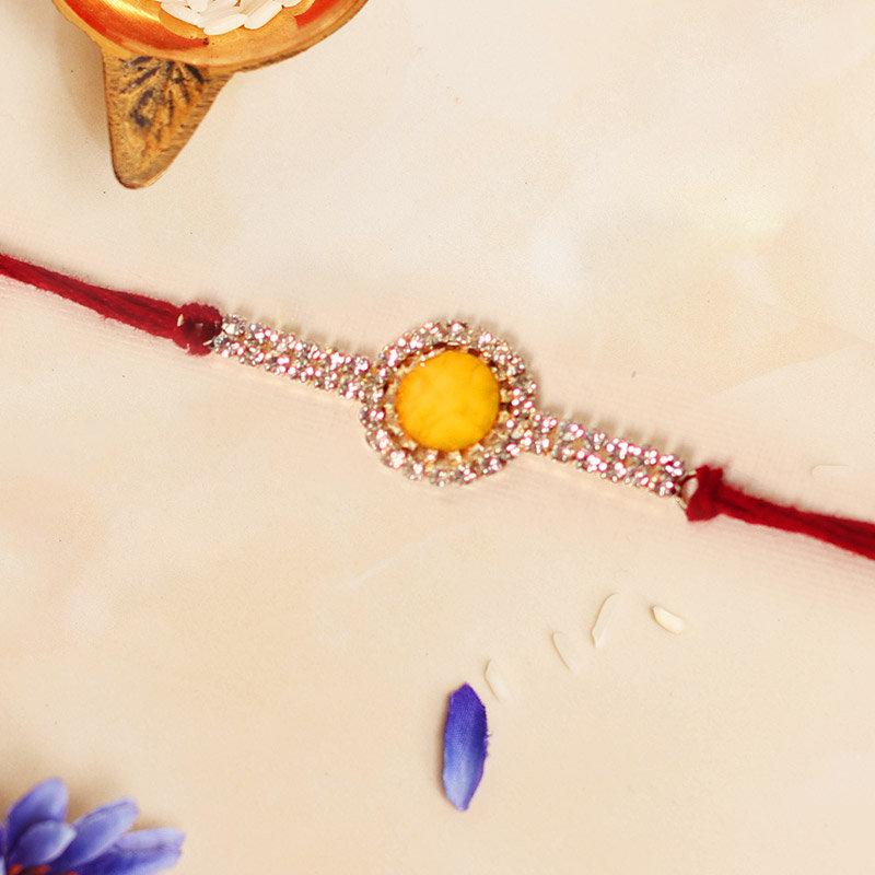 Stunning Silver Yellow Rakhi