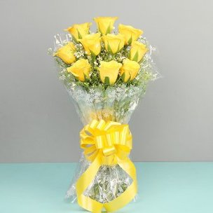 Bunch of 10 Yellow Roses