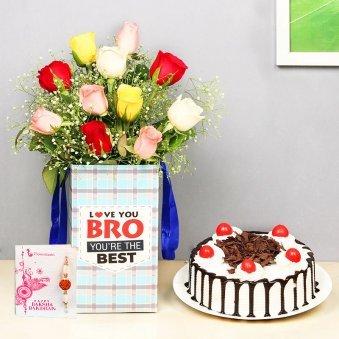 Rakhi Combo of Cake and Roses for Bro