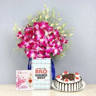 Rakhi Combo of Orchids and Cake for Brother
