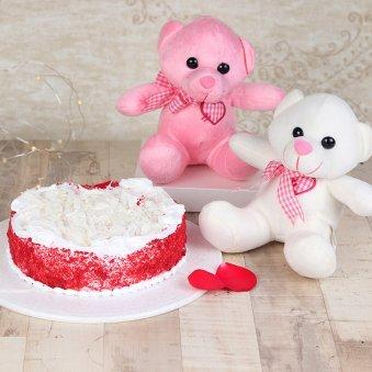 Twin Love N Joy - Two 6 Inch Teddies with 1 Kg Red Velvet Cake