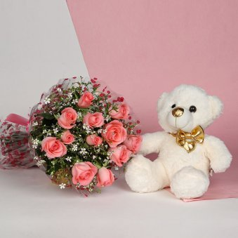 Irresistible Love - Combo of 12 pink roses bunch and 12 inch brown teddy