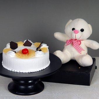 Teddy Mango Delight - 6 Inch Teddy with 500gm Pineapple Cake