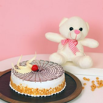 Softy Rich Combo - 6 Inch Teddy with 500gm Butterscotch Cake