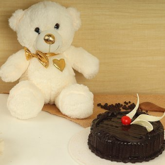 Rich Goldy Combo - 12 Inch Teddy with 500 gm Chocolate Cake