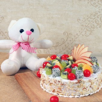 Cream N Cuddle Combo - 6 Inch Teddy with 500gm Fruit Cake