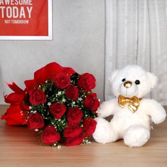 Valentines Flower & Teddy Gift with Love Messages