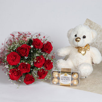 Feel My Love - A combo of 12 Red Roses Bunch with a 12 inch teddy and 16 Ferrero Rocher