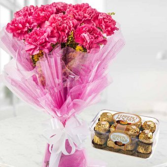 Pink Carnation Bunch and Ferero Rochers