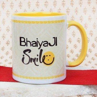 A Wonderful Bhaiya Ji Smile Mug with Front Side View