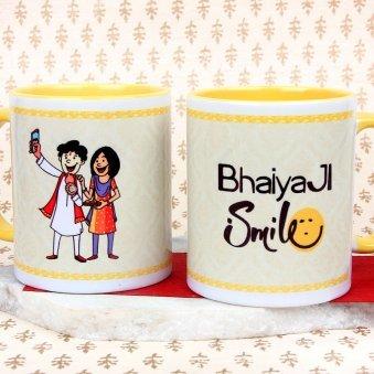 A Wonderful Bhaiya Ji Smile Mug with Both Sided View