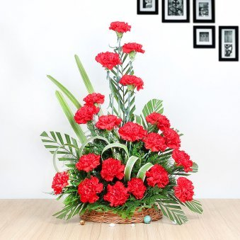 25 Red Carnations in Basket