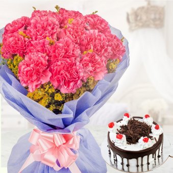 Choco Carnation 15 carnations with half kg black forest cake for Valentine