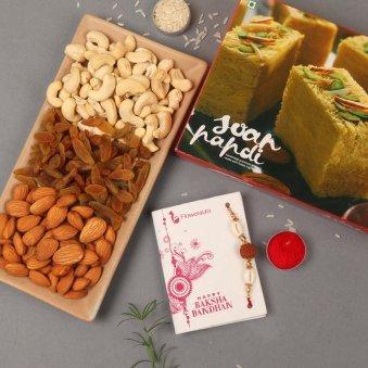 Rakhi with Half Kg Mixed Dry Fruits and Half Kg Soan Papdi